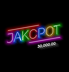 jackpot gambling game bright neon banner with vector image