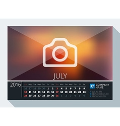 July 2016 Stationery Design Print Template Desk vector
