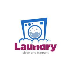 Laundry machine for wash service logo designs vector