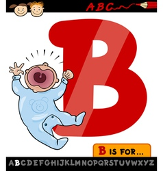 Letter b with baby cartoon vector