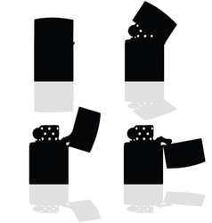 Lighter in four positions open silhouette vector