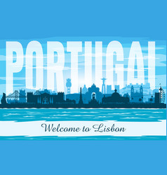 lisbon portugal city skyline silhouette vector image