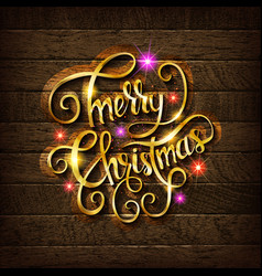 merry christmas gold glittering lettering vector image