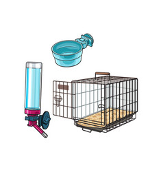 Metail wire pet travel carrier feeding bowl and vector