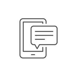 mobile phone message line outline icon vector image
