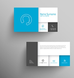 Modern blue business card template vector image