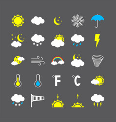 Modern weather icons set flat vector