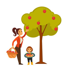 Mother and daughter picking apples from tree vector