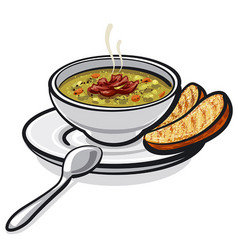 Pea soup with ham vector
