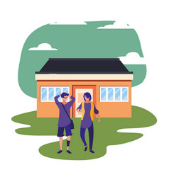 People standing next house vector