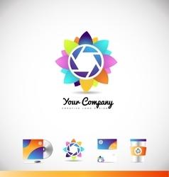 Photography aperture shutter logo vector