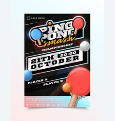 ping pong or table tennis sport flyer vertical vector image