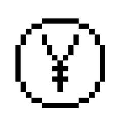 Pixel yen icon vector