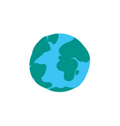 planet globe flat color vector image