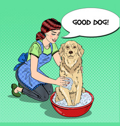 Pop art happy woman washing dog vector