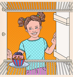 Pop art little girl sees tasty cake in the fridge vector