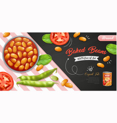 Realistic baked beans background vector
