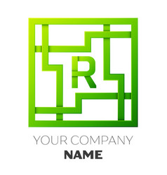 Realistic letter r symbol in colorful square maze vector