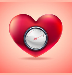 red heart with fuel gauge love heart indicator vector image