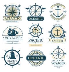 retro nautical labels badges logos vector image