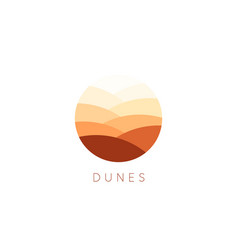 sand dunes icon desert landscape logo vector image