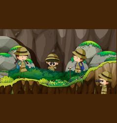 Scout kids exploring nature vector