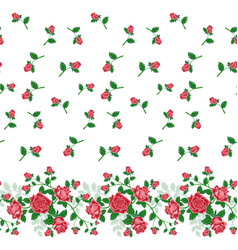 Seamless border pattern of red roses vector