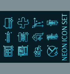 set algebra blue glowing neon icons vector image
