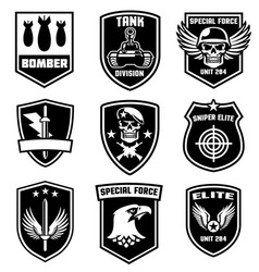 set military patches design vector image