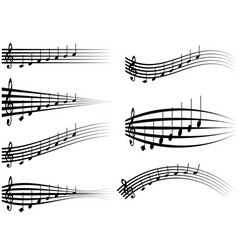 Set musical staff various musical notes on stave vector