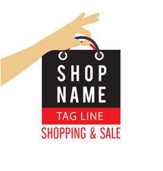 shopping sale hand hold bag background im vector image