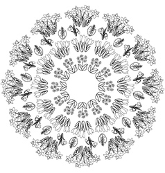 spring floral mandala coloring book black and vector image