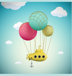 submarine on the balloons flying in the sky vector image