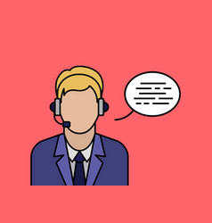 support phone operator in headset banner vector image