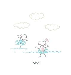Swim in sea vector