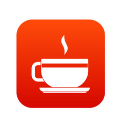 tea cup and saucer icon digital red vector image