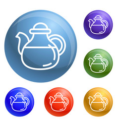 tea pot icons set vector image