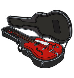 The classical red electric guitar in a case vector