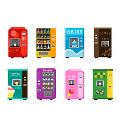 Vending machines automatic selling foods snacks vector