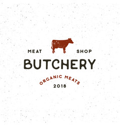 Vintage butchery logo retro styled meat shop vector