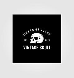 vintage skull logo design vector image