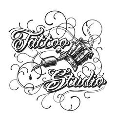 vintage tattoo studio monochrome logotype vector image