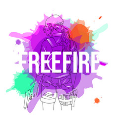 Watercolor freefire girl vector