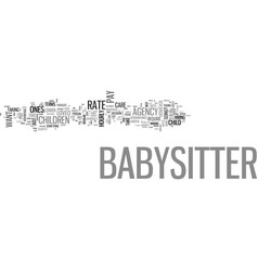 what should you pay your babysitter text word vector image