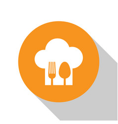 White chef hat with fork and spoon icon isolated vector