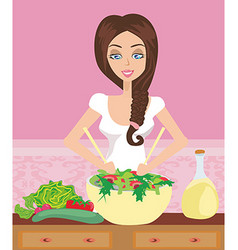 Woman healthy cooking with salad bowl in the vector