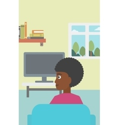 Woman watching TV vector