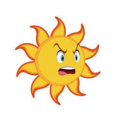 Yellow smiling sun cartoon character as weather vector