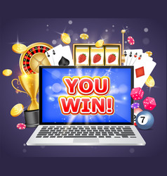 You win casino poster banner design vector