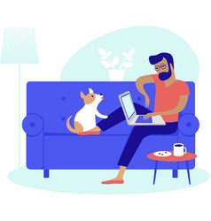 Young man working at home as freelancer vector